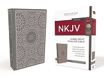 NKJV Thinline Large Print Gray / Pink Cloth over Board