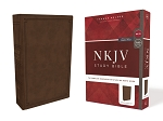NKJV Study Brown Leathersoft